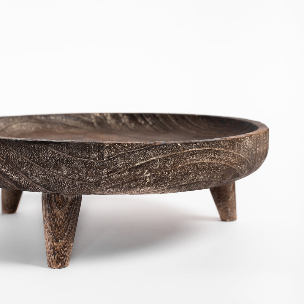 Batam wood footed tray : close up view