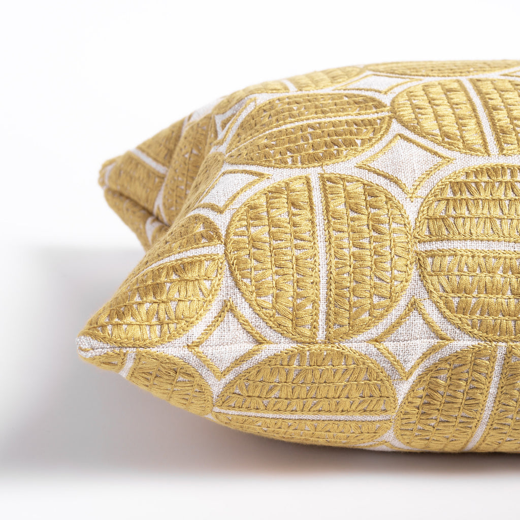 Berken gold medallion embroidered pillow from Tonic Living
