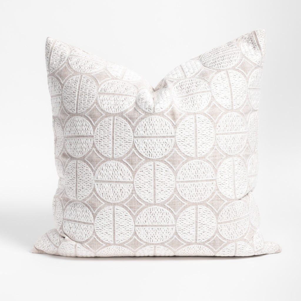Berken pearl white medallion embroidered pillow from Tonic Living