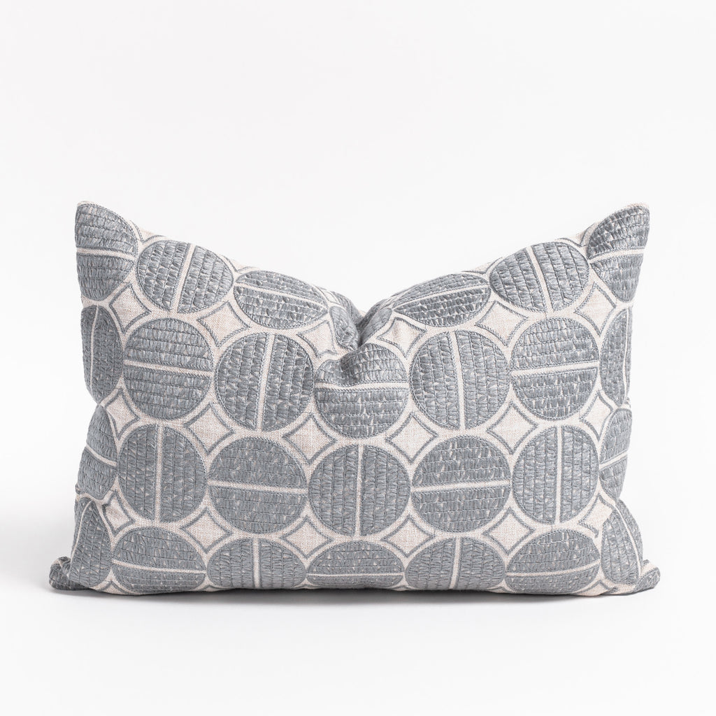 Berken grey medallion embroidered pillow from Tonic Living