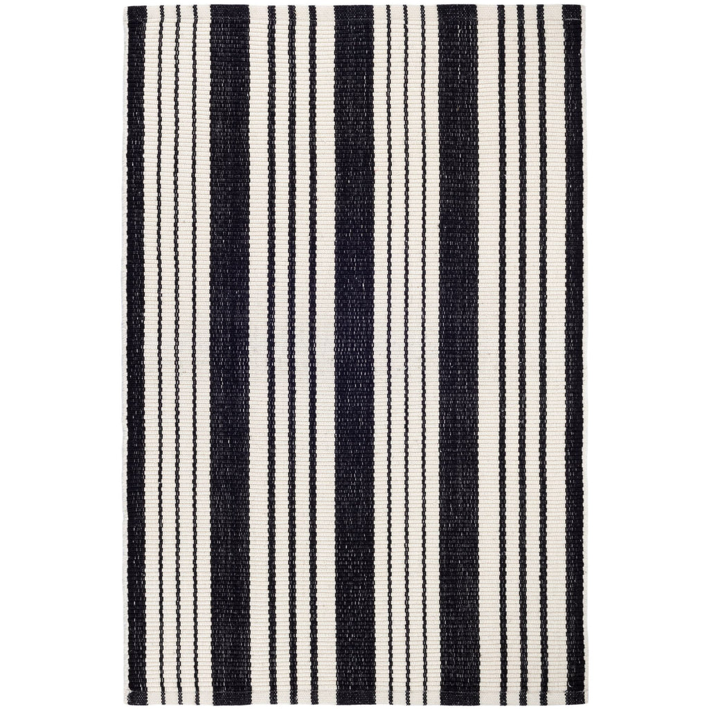 Birmingham black and ivory stripe indoor outdoor rug dash and albert available at Tonic Living
