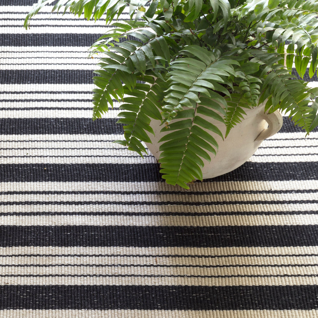 black and ivory stripe indoor outdoor rug