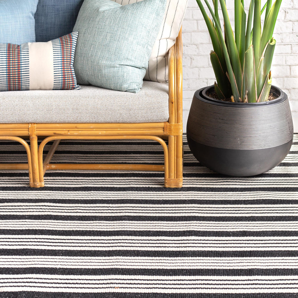 Birmingham black and ivory stripe indoor outdoor rug