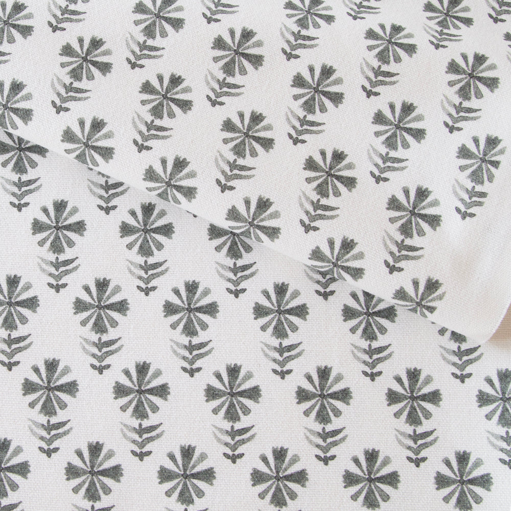 Blake Block Print Platinum, a gray on white flower print fabric from Tonic Living