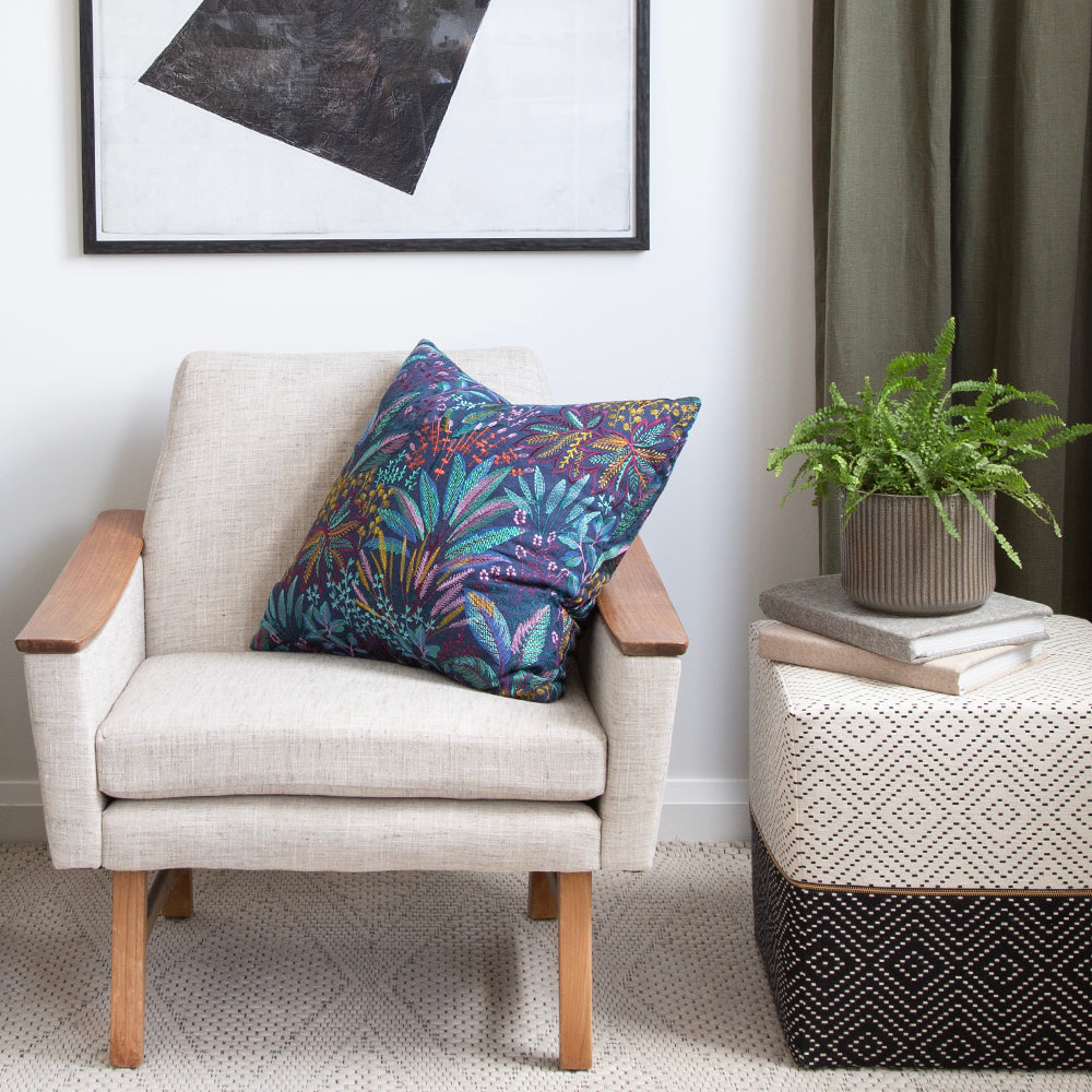 floral pillow on danish chair tonic living