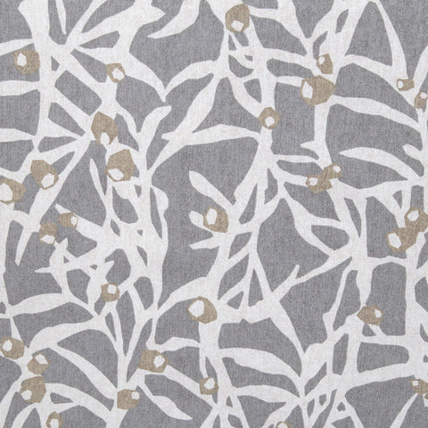 Botanica, Platinum - An abstract botanical print in natural and khaki tan colours on a stone grey background.