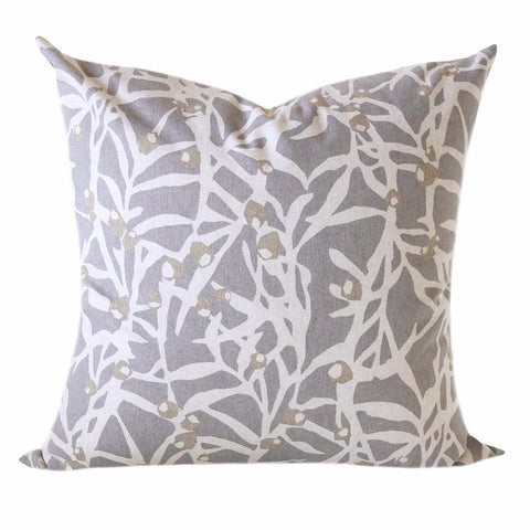 Botanica, Platinum Pillow - An impressionistic botanical print in natural and khaki tan colours on a stone grey background.