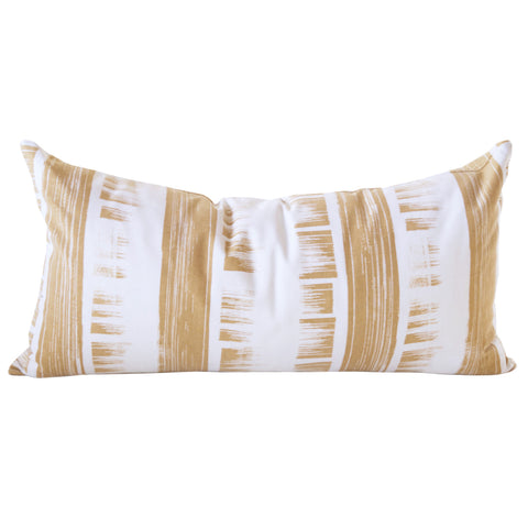 Brushed Oro- gold and white striped lumbar pillow by Tonic Living