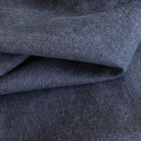 Cleary, Indigo - A hearty, washed linen blend Ellen Degeneres fabric in a indigo denim blue.