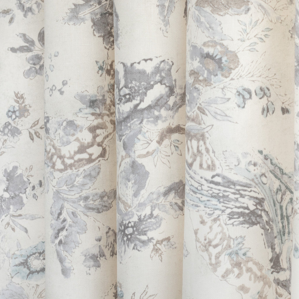 Colette Flint, a painterly cream and warm grey floral and bird print linen drapery fabric from Tonic Living