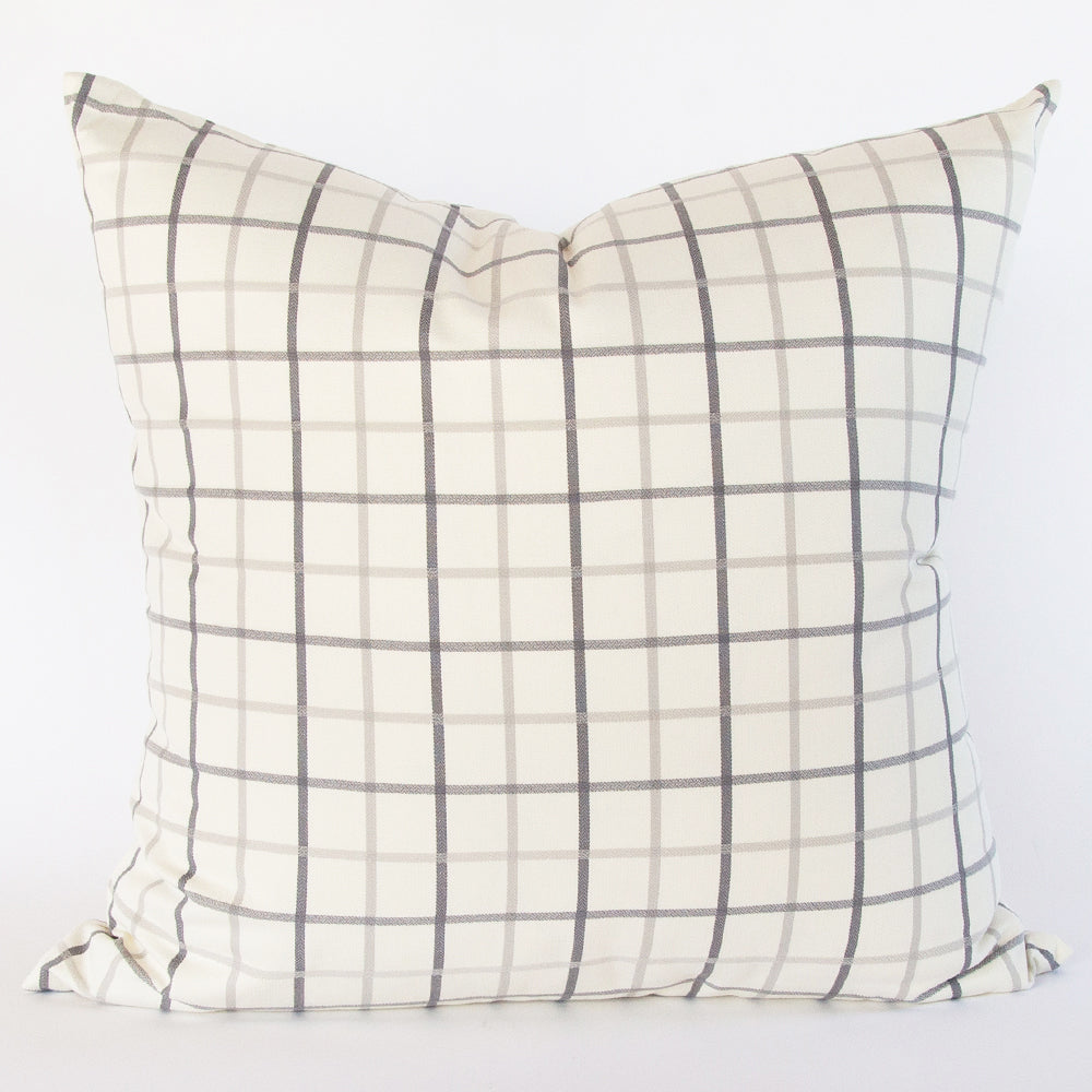 Colton Windowpane 24x24 Pillow, Silver
