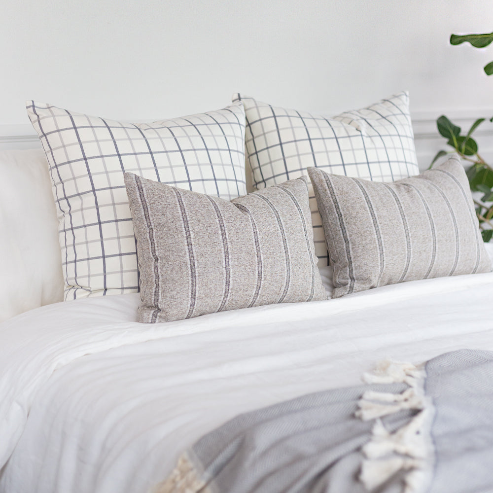 Grey and cream stripe and windowpane bed pillow combo from Tonic Living