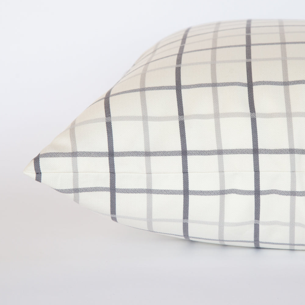 Colton grey and cream windowpane large pillow from Tonic Living