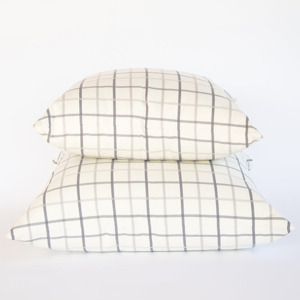 Colton grey and cream windowpane pillows from Tonic Living
