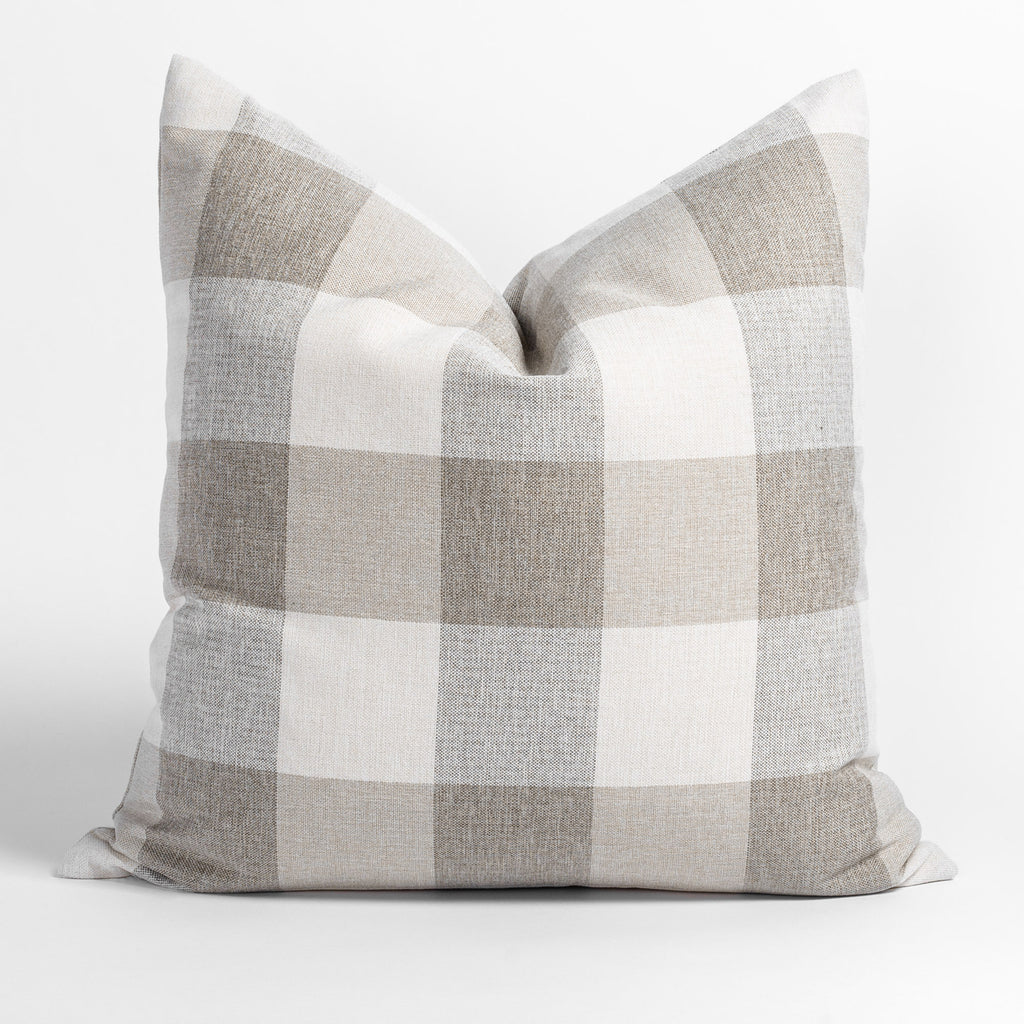 Cottage Check, a cream and taupe buffalo check pillow from Tonic Living
