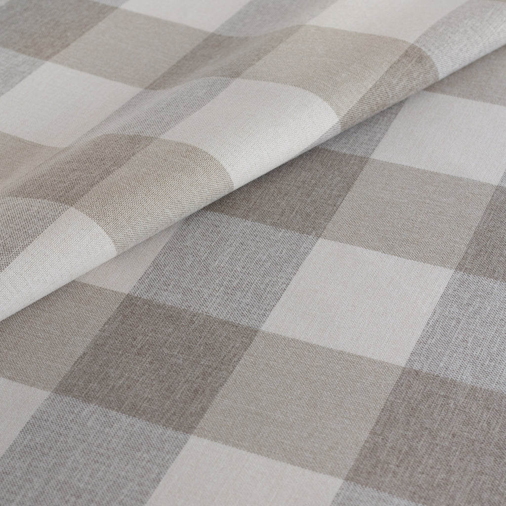 Cottage Check Fabric, a cream and taupe buffalo check performance fabric from Tonic Living