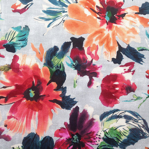 Delphine - A high drama, water colour floral fabric in inky deep shades of coral, poppy and wine red, tangerine orange, turquoise, teal, navy blue, green, black and white on a light grey background.