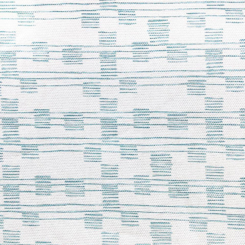 A white and spa blue fabric with a charming hand drawn line pattern.  Suitable for drapery, upholstery, roman blinds, cushions, pillows and other home decor accessories.