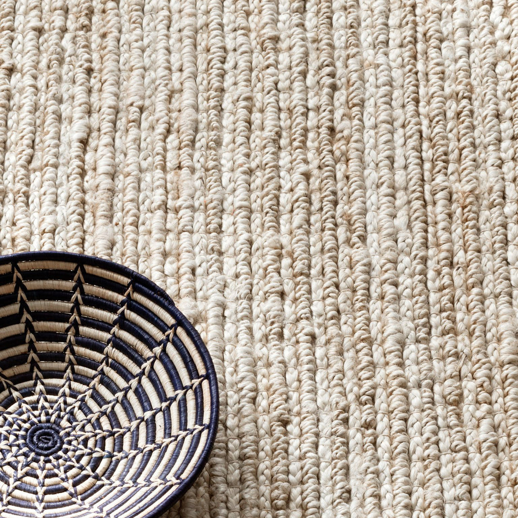 Close up view: Dunes bleached oak woven jute Dash and Albert rug available at Tonic Living