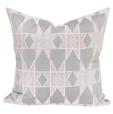 Estrella Blush - A geometric star pillow in pale pink and warm grey made with Justina Blakeney Home fabric