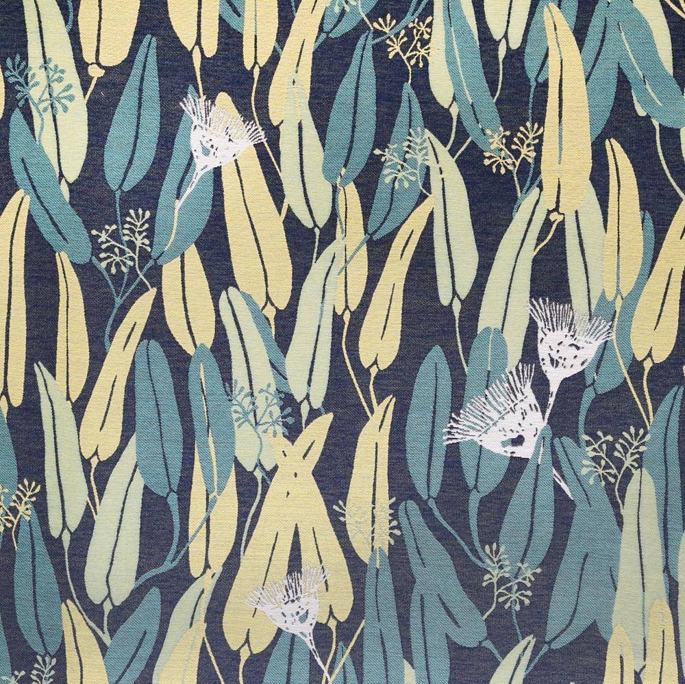 Euc, Hillside - A Justina Blakeney statement fabric in a tropical pattern of Eucalyptus branches and buds in citrine yellow, forest and celery green, cream, teal and navy blue.