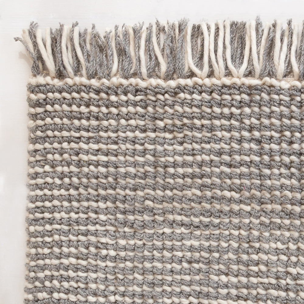Falsled grey and cream stripe wool rug from Tonic Living