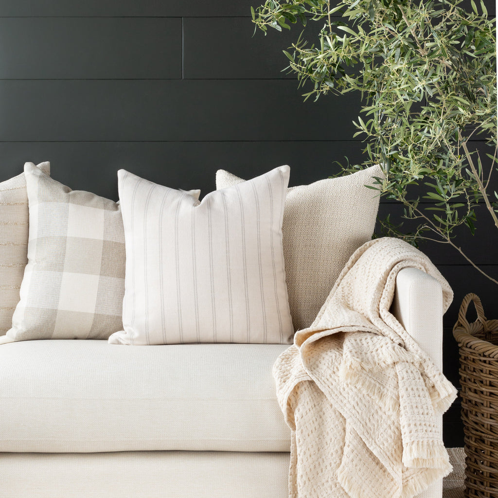 neutral pillow combination: Farina Stripe birch, Cottage Check and Milly Vanilla pillows