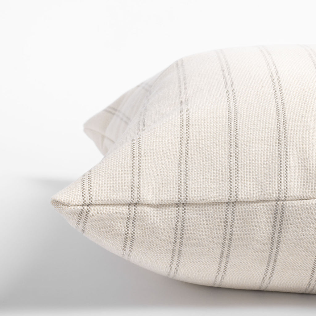 Farina 20x20 Pillow, Birch, cream and warm gray vertical striped pillow : close up side view
