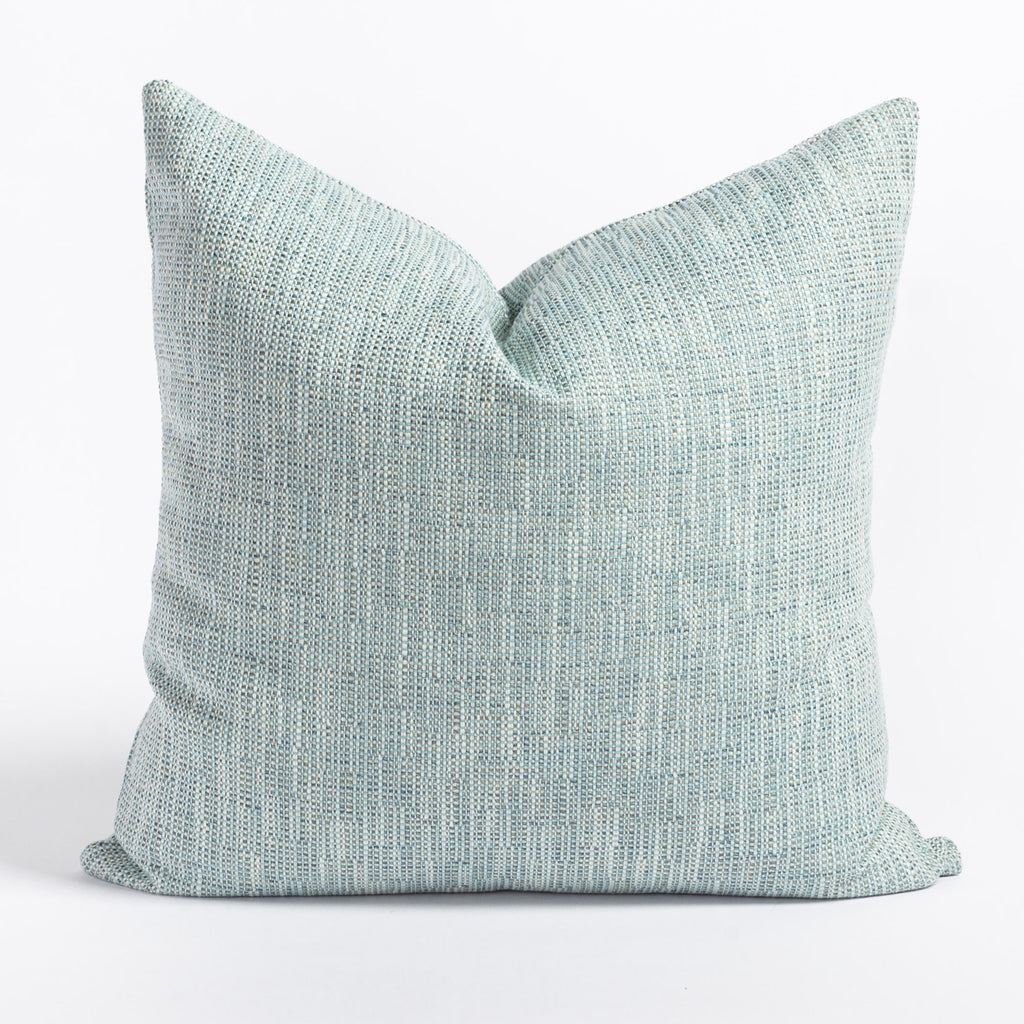 Felix Pool, a watery aqua blue and cream indoor outdoor pillow from Tonic Living