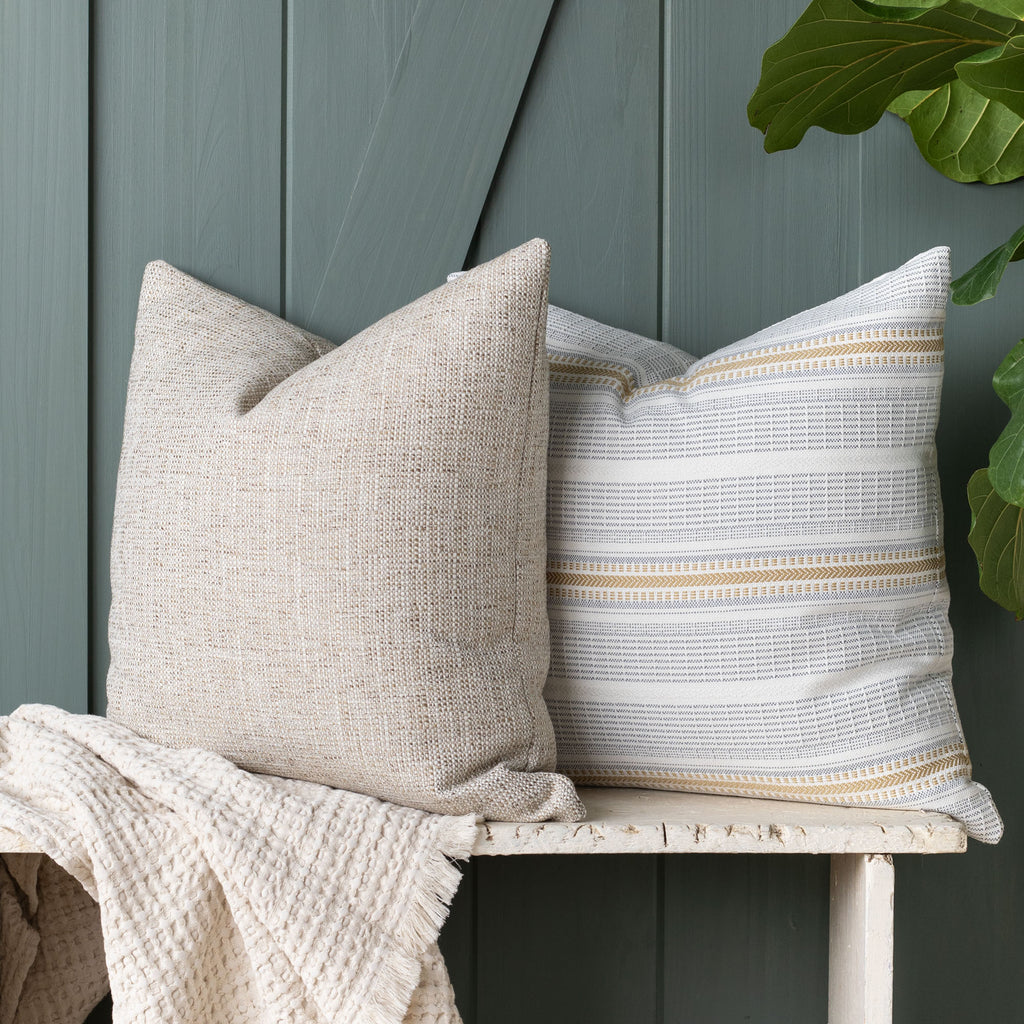 Outdoor pillow combination: Felix Sisal and Rhodes Canary pillows