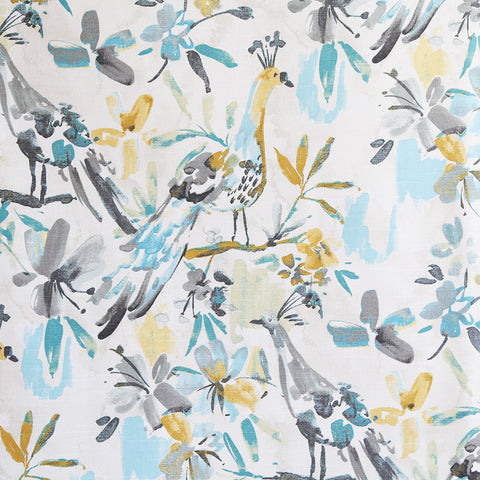 Flora Flaunt, Pool - A watery, painted bird fabric in fresh colours of turquoise, aqua, grey, yellow and cream.