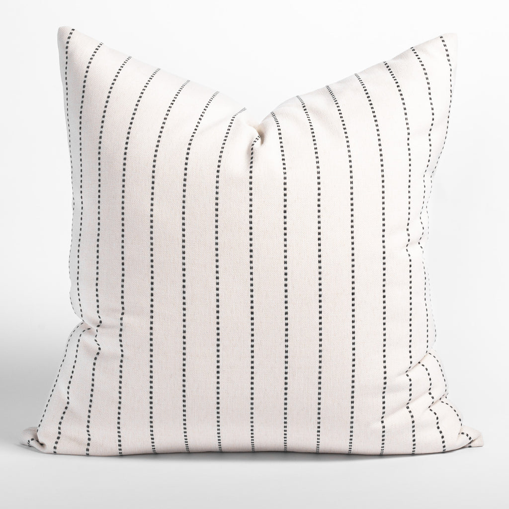 Fontana graphite 24x24 pillow, a cream and black vertical stripe indoor outdoor pillow from Tonic Living