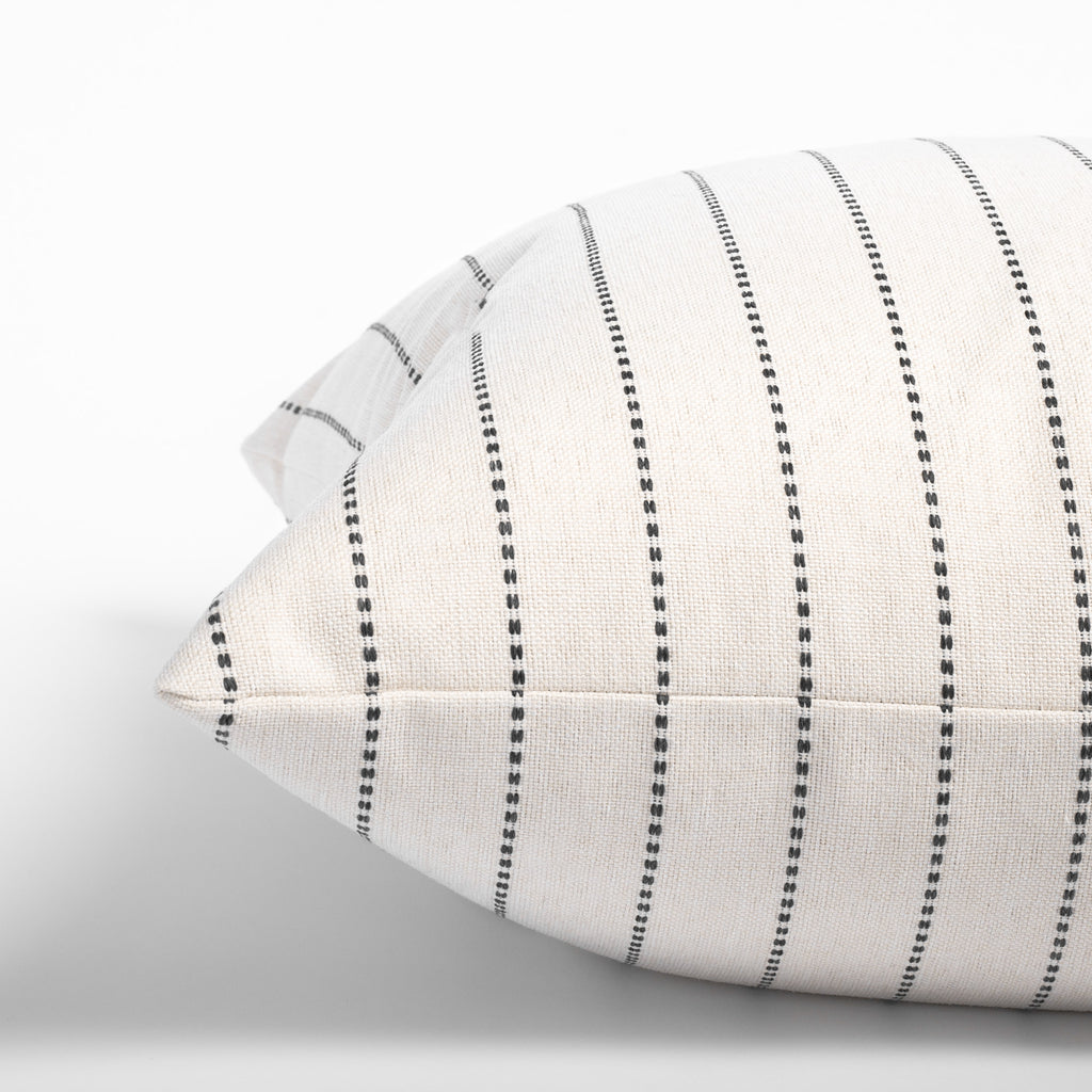 Fontana cream and black stripe pillow: side view