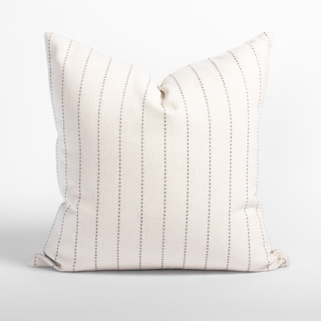 Fontana linen 20x20 pillow, a cream and sandy grey vertical stripe indoor outdoor pillow from Tonic Living