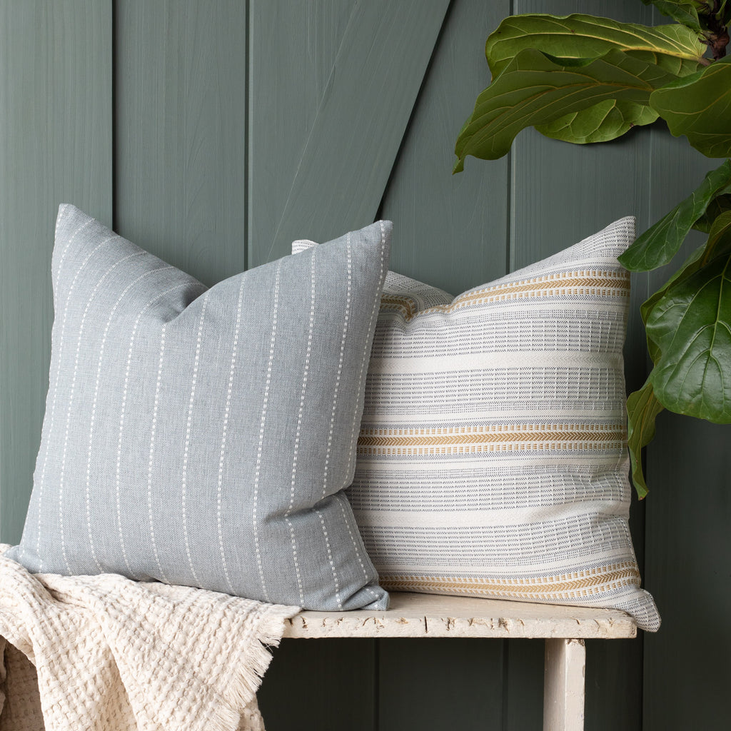 Outdoor pillow combination: Fontana Cloud and Rhodes Canary pillows