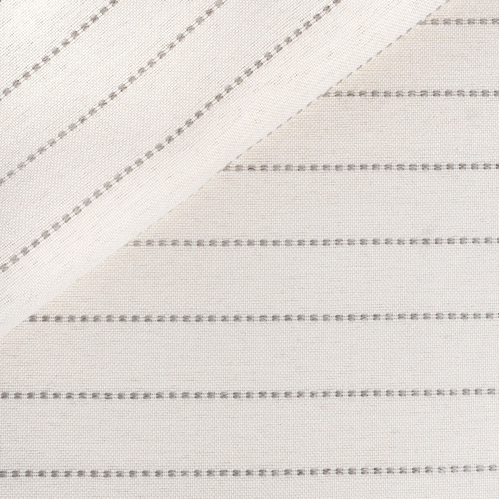 Fontana Linen, a light cream and sandy grey horizontal stripe indoor outdoor fabric from Tonic Living