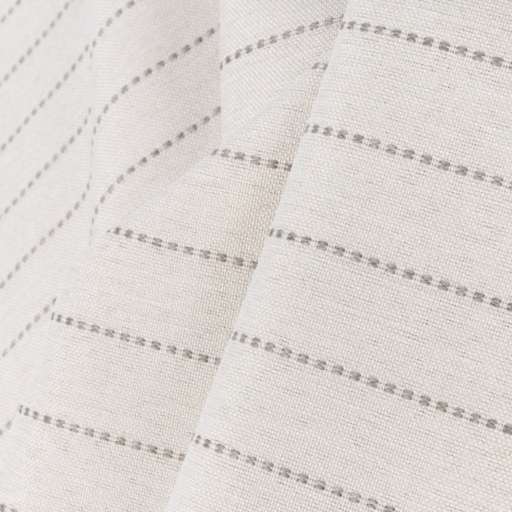 a light cream and sandy grey stripe indoor outdoor fabric :  close up view