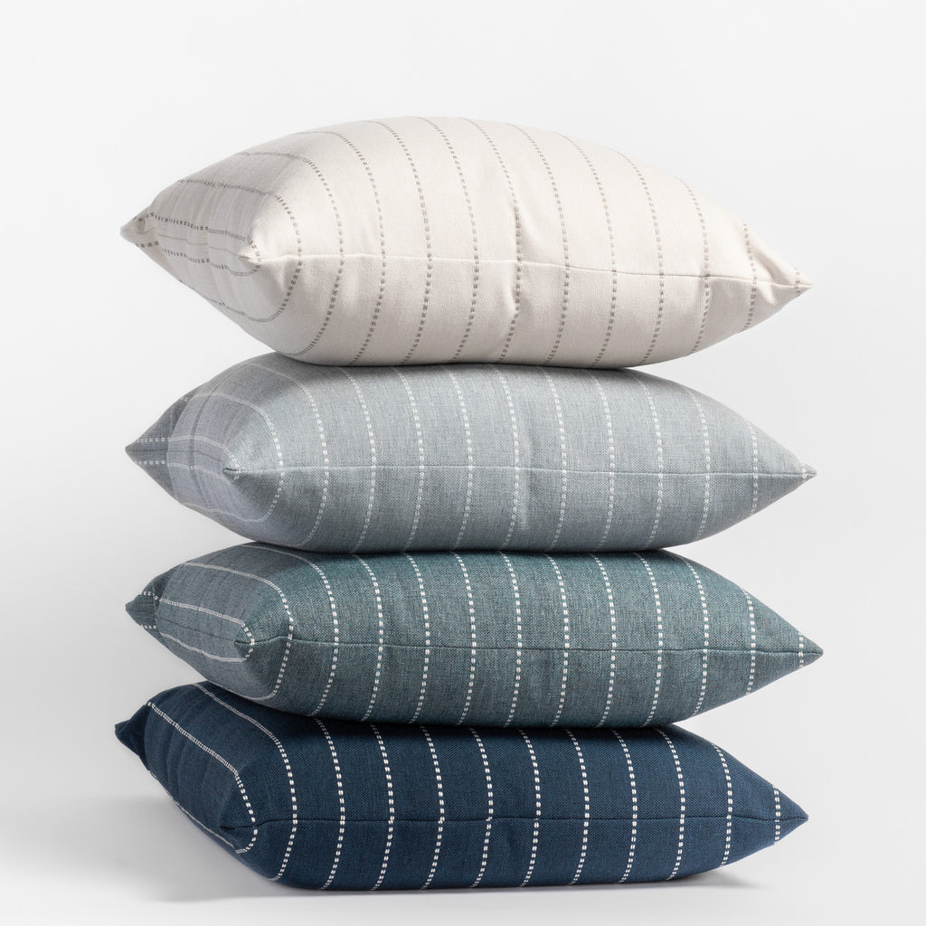 Fontana indoor outdoor striped pillow collection in Linen, Cloud, Water and Navy colours