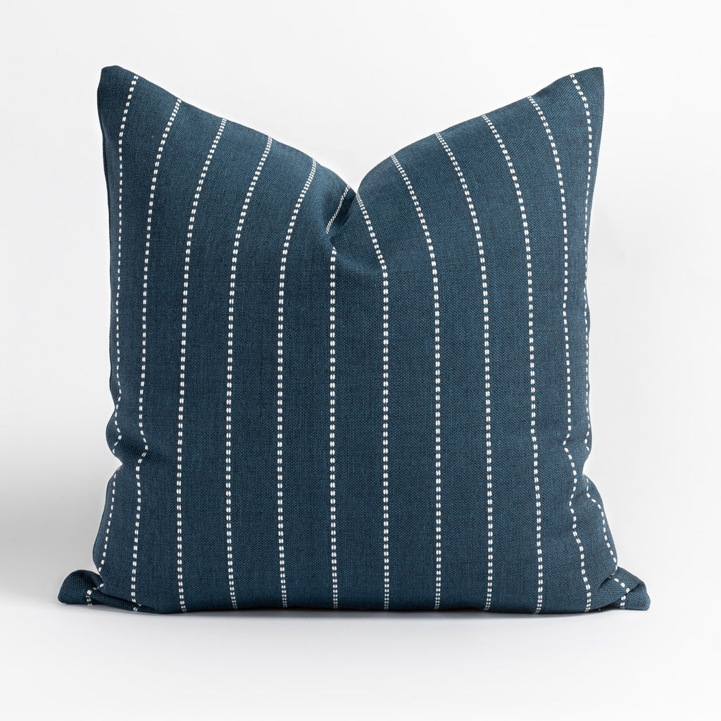 Fontana Navy 20x20 pillow, a navy blue and white vertical stripe indoor outdoor pillow from Tonic Living