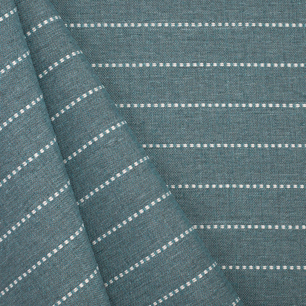 Fontana Water, a teal blue and white horizontal stripe indoor outdoor fabric : view 2
