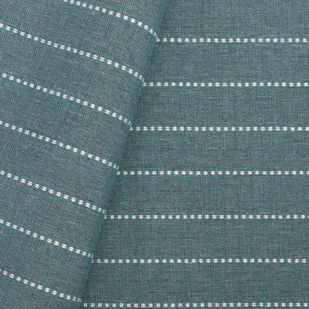 Fontana Water, a teal blue and white horizontal stripe indoor outdoor fabric from Tonic Living