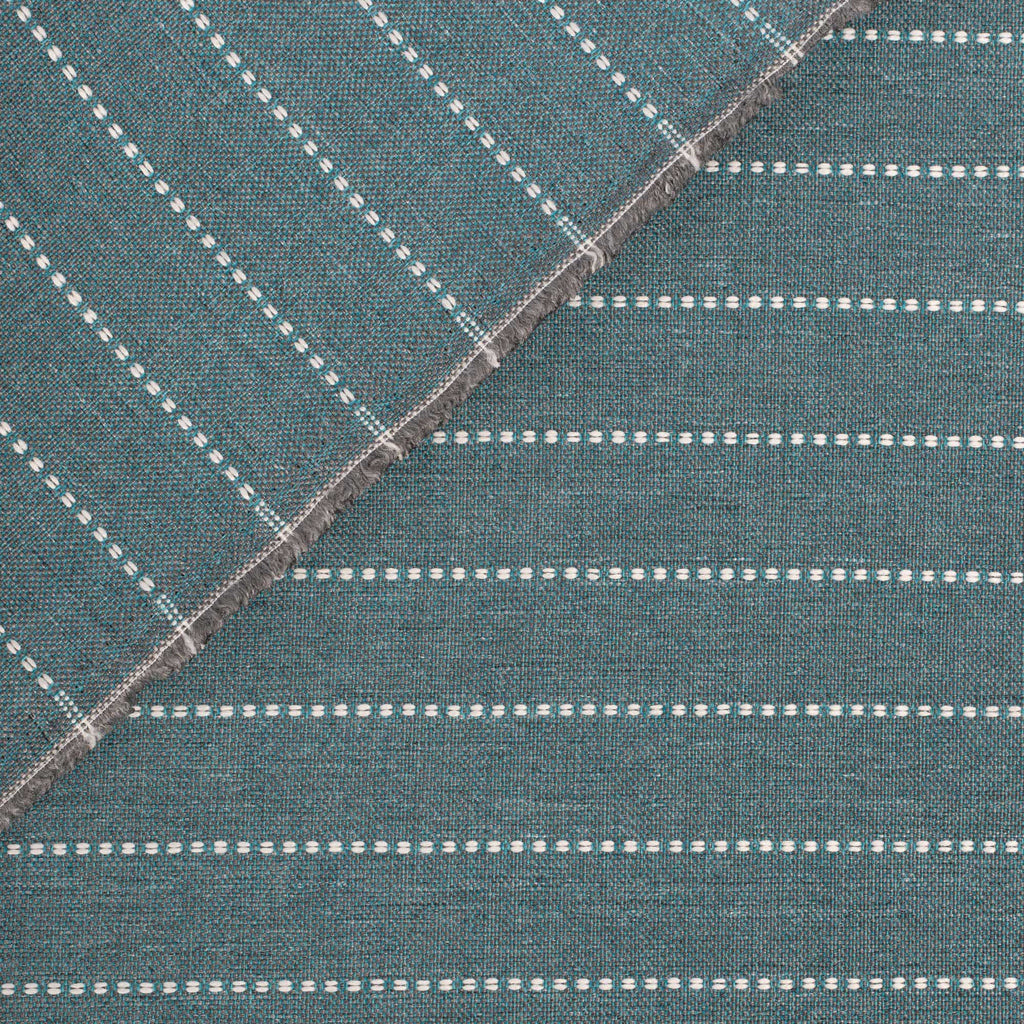 Fontana Water, a teal blue and white horizontal stripe indoor outdoor fabric : view 3