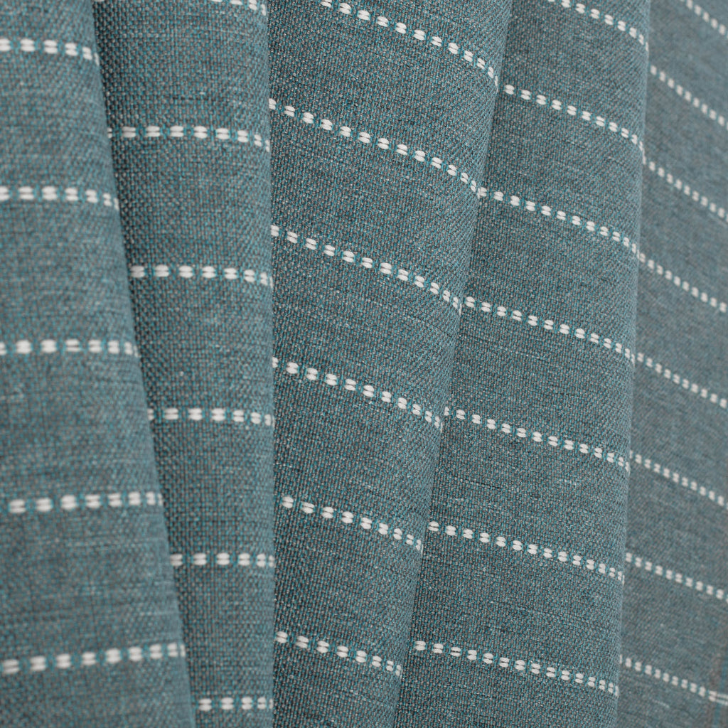 Fontana Water, a teal blue and white horizontal stripe indoor outdoor fabric : view 5