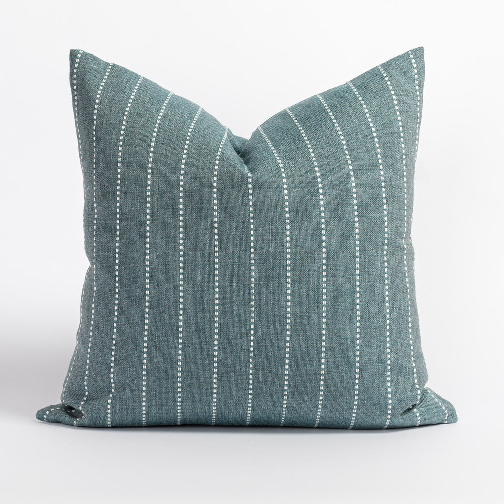 Fontana Water 20x20 pillow, a teal and white vertical stripe indoor outdoor pillow from Tonic Living