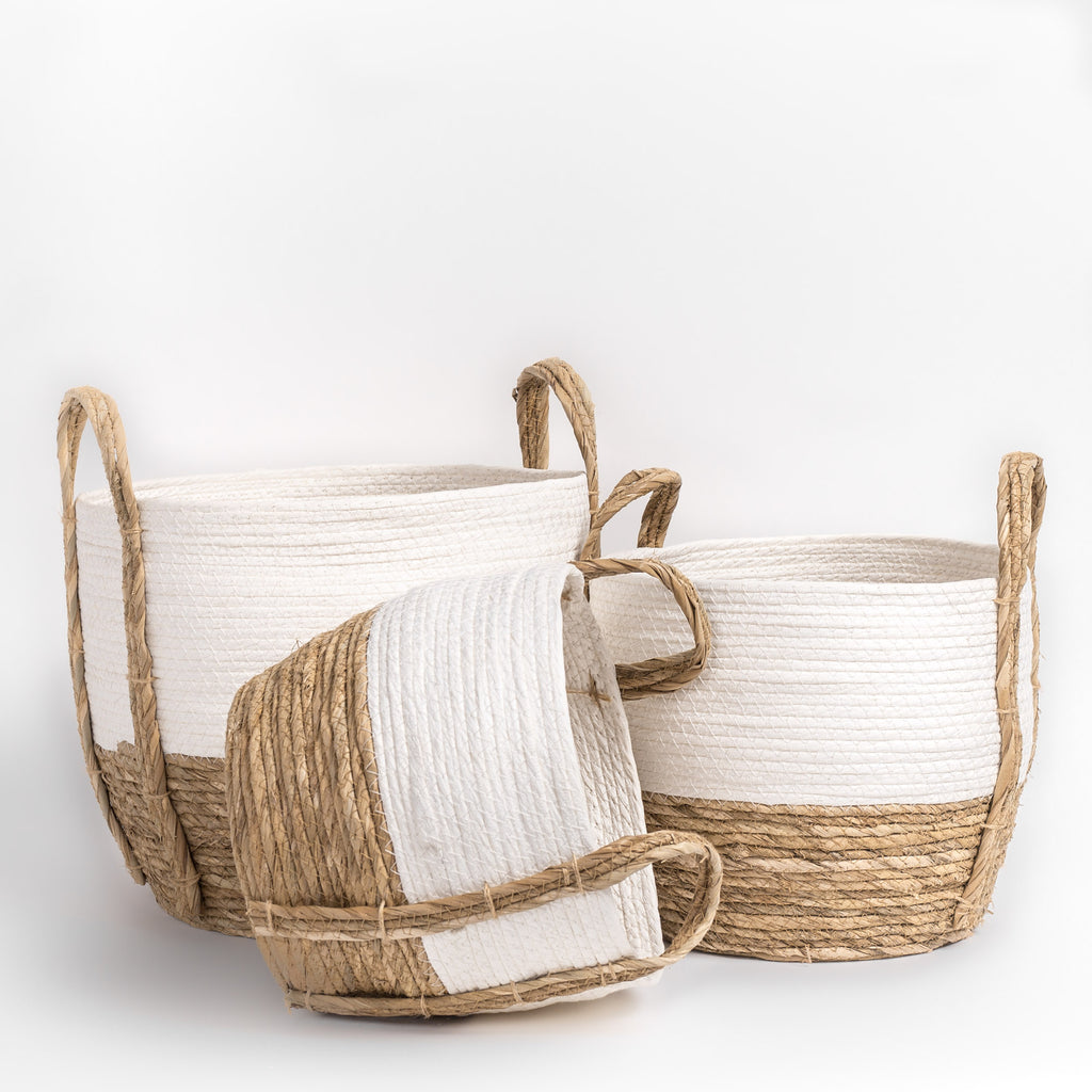 White and straw basket set of three from Tonic Living