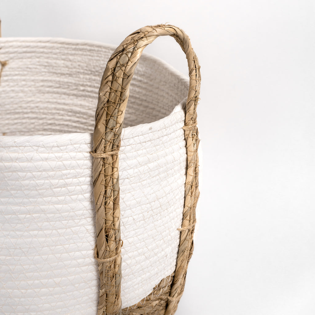 white and natural straw basket detail