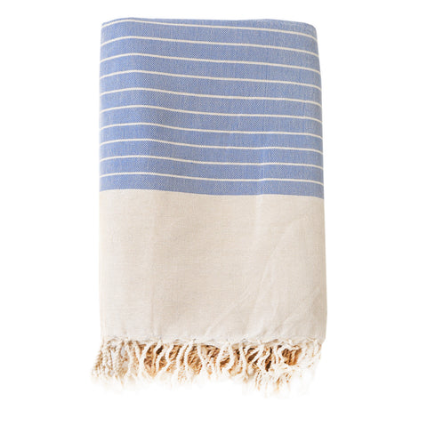 Fouta Blanket - Large Stripe, Blue