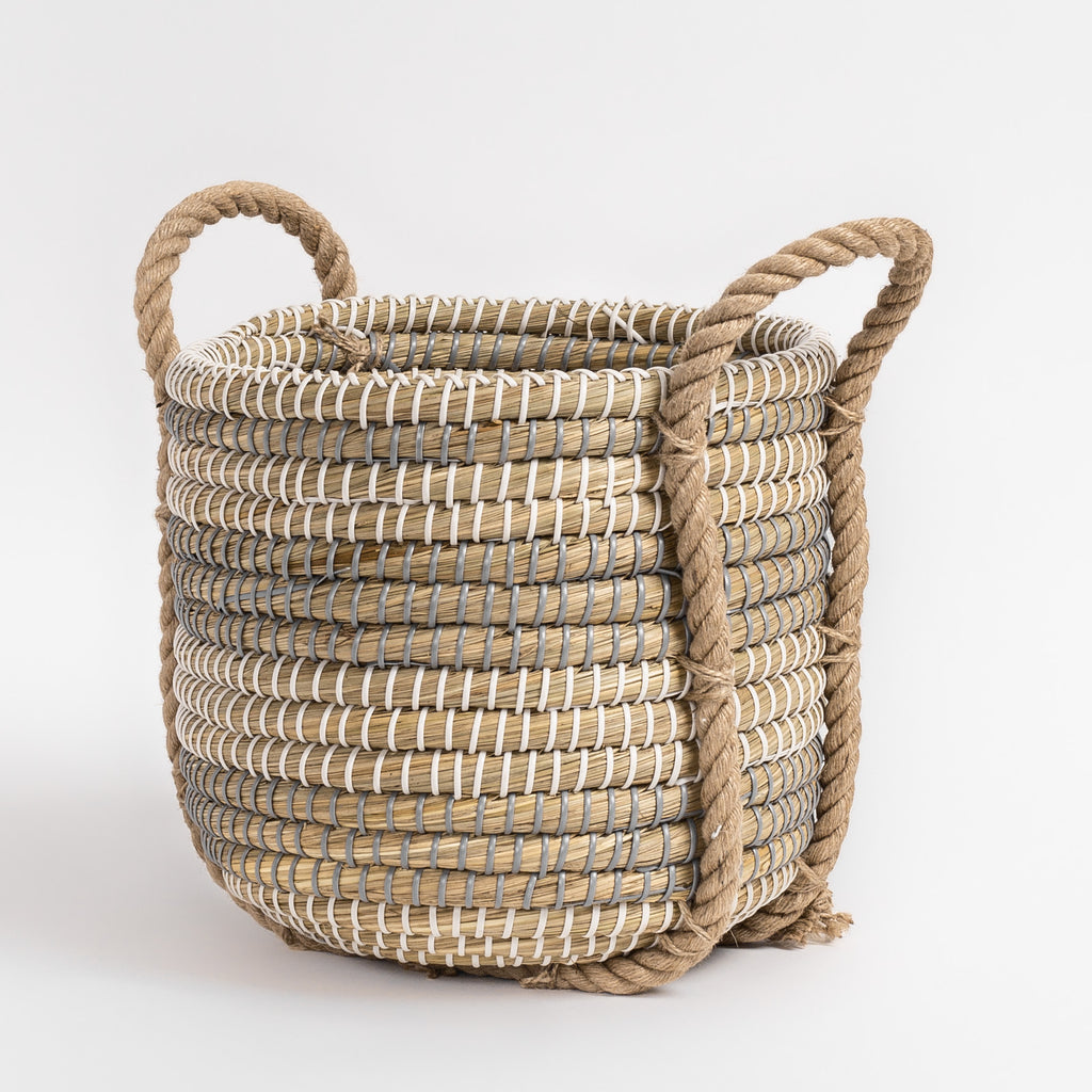 Gorsu natural coil basket with rope handles from Tonic Living