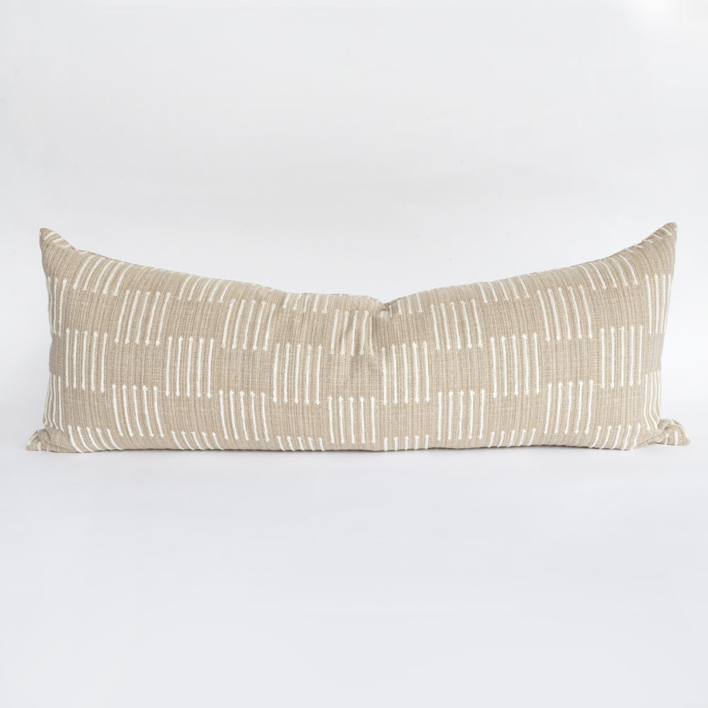 Harlow bolster bed pillow, a beige and ivory graphic pillow from Tonic Living