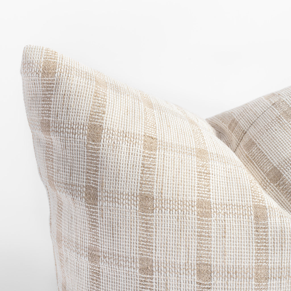 white and natural beige plaid check throw pillow close up view
